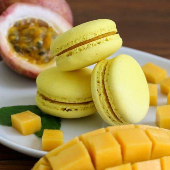 mango passionfruit macaron